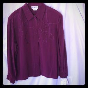 NWT Maroon Silk Pendleton Blouse Shirt